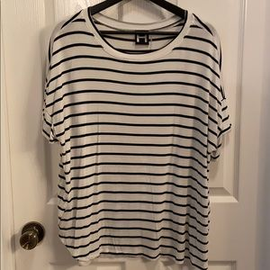 H by Bordeaux Black & White Striped Tee in 1X